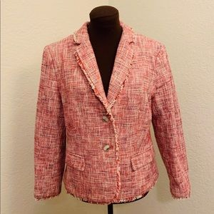 Banana Republic Pink Fringe Tweed Blazer